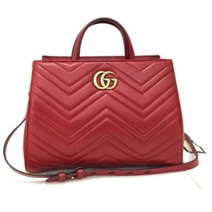 8465c5b81437d Gucci. GUCCI Marmont Quilted GG Logo Leather Hand Bag